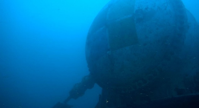 The pressure vessel at the bottom of the ocean during deployment as seen from a survey ROV